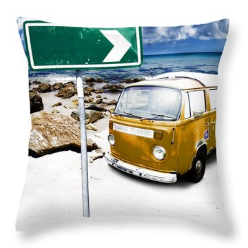 Retro Beach Van Throw Pillow