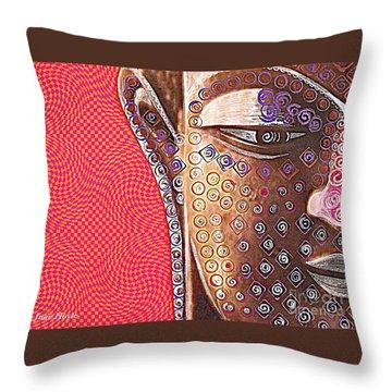 Retro Buddha Throw Pillow by Julie  Hoyle
