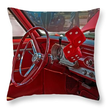 Retro Chevy Car Interior Art Prints Throw Pillow by Valerie Garner