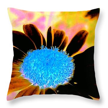 Retro Daisy Throw Pillow by Jacqueline McReynolds