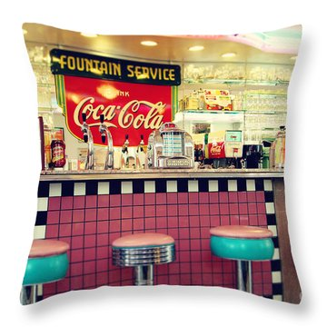 Retro Diner Throw Pillow by Sylvia Cook