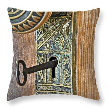 Retro Intricate Door Knob And Metal Key Art Prints Throw Pillow