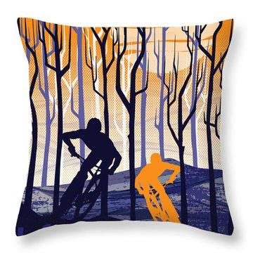 Retro Mountain Bike Poster Life Behind Bars Throw Pillow