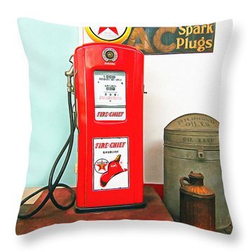 Retro Petro Throw Pillow by Marion Johnson