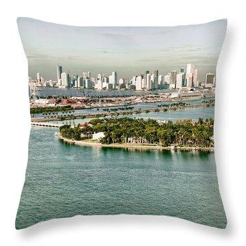 Retro Style Miami Skyline And Biscayne Bay Throw Pillow