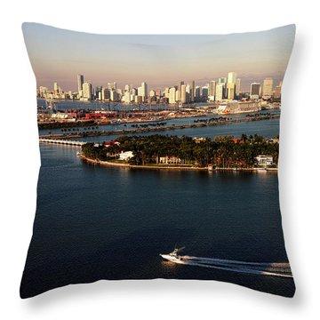 Retro Style Miami Skyline Sunrise And Biscayne Bay Throw Pillow