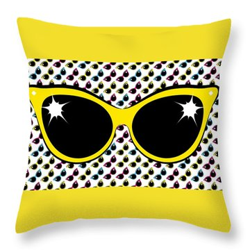 Retro Yellow Cat Sunglasses Throw Pillow