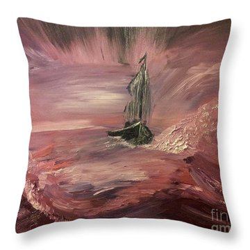 Return To Shores In Deep Red Throw Pillow