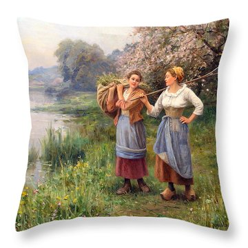 Returning From The Field Throw Pillow