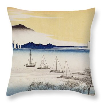 Returning Sails At Yabase Throw Pillow by Hiroshige