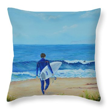 Throw Pillow featuring the painting Returning To The Waves by Mary Scott
