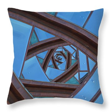 Revolving Blues. Throw Pillow by Clare Bambers