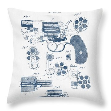 Revolving Firearm Patent Drawing From 1881 -  Blue Ink Throw Pillow