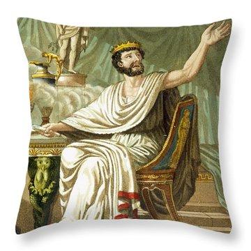 Rex Sacrificulus, Illustration Throw Pillow by Jacques Grasset de Saint-Sauveur