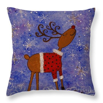 Rex The Reindeer Throw Pillow