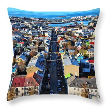 Reykjavik Cityscape Panorama Throw Pillow