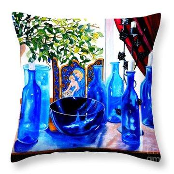 Rhapsody In Blue Throw Pillow by Caroline Street