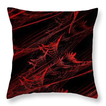 Rhapsody In Red V - Panorama - Abstract - Fractal Art Throw Pillow by Andee Design