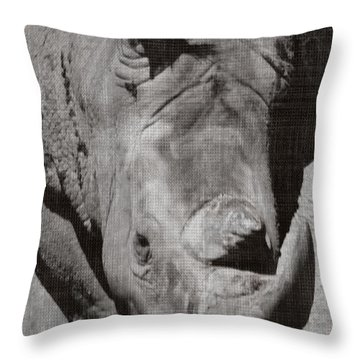Rhino In Gray Throw Pillow