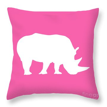 Rhino In Pink And White Throw Pillow
