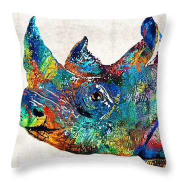 Rhino Rhinoceros Art - Looking Up - By Sharon Cummings Throw Pillow