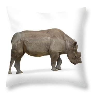 Throw Pillow featuring the photograph Rhinoceros by Charles Beeler