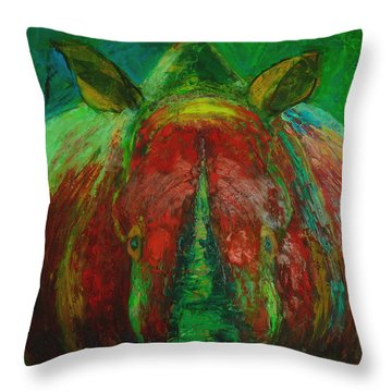 Rhinocerus Throw Pillow by Magdalena Walulik