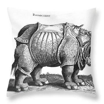 Rhinoceros No 76 From Historia Animalium By Conrad Gesner  Throw Pillow by Albrecht Durer