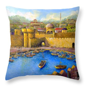 Throw Pillow featuring the painting Rhodes by Lou Ann Bagnall