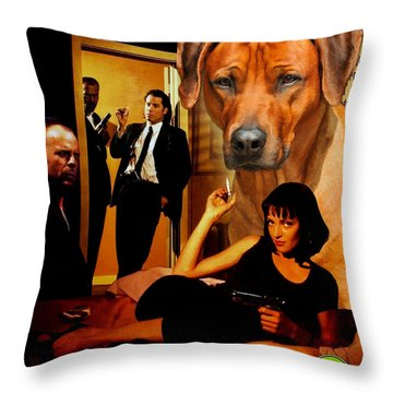 Rhodesian Ridgeback Art Canvas Print - Pulp Fiction Movie Poster Throw Pillow