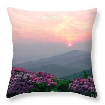 Rhododendron Sunrise Throw Pillow by Annlynn Ward