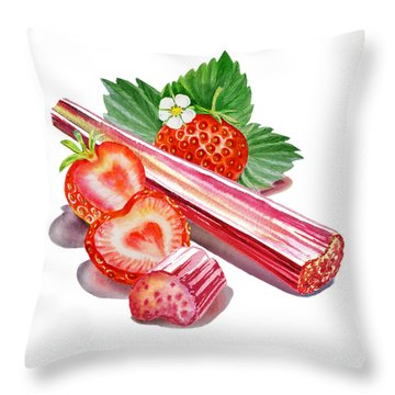 Throw Pillow featuring the painting Rhubarb Strawberry by Irina Sztukowski
