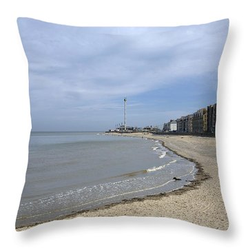 Rhyl Beach Throw Pillow by Christopher Rowlands