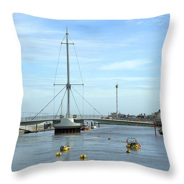 Rhyl Harbour Throw Pillow by Christopher Rowlands