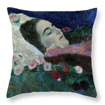 Ria Munk On Her Deathbed Throw Pillow by Gustav Klimt