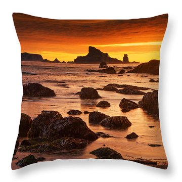 Rialto Beach Sunset Symphony Throw Pillow