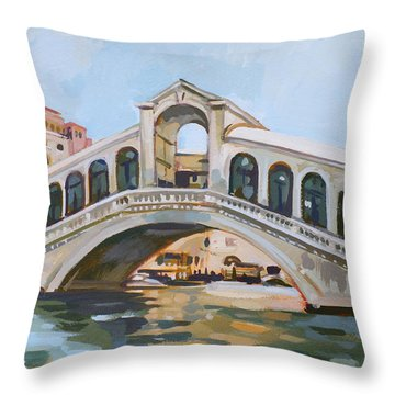 Rialto Bridge Throw Pillow by Filip Mihail