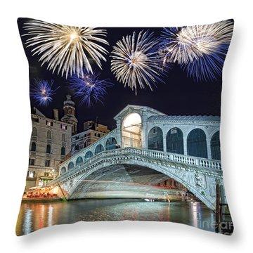 Rialto Bridge Fireworks Throw Pillow