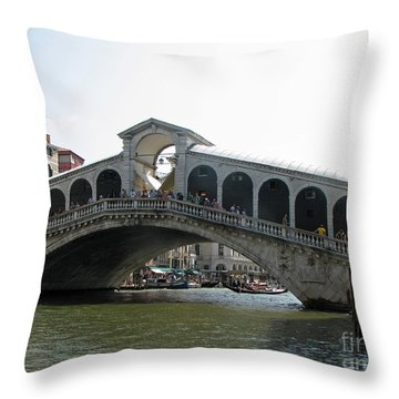 rialto bridge in Venice with the Grand canal 5 Throw Pillow