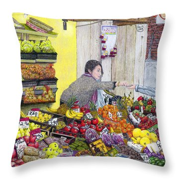 Rialto Market Throw Pillow by Albert Puskaric
