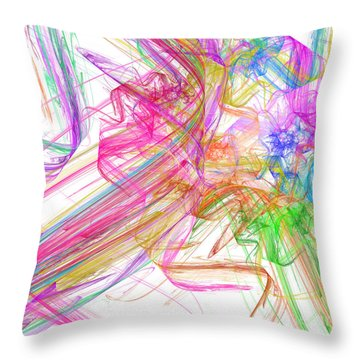 Ribbons And Curls White - Abstract - Fractal Throw Pillow