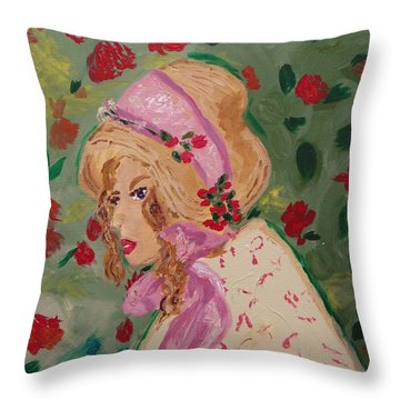 Throw Pillow featuring the painting Ribbons And Roses by Mary Carol Williams