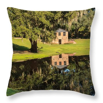 Rice Mill  Pond Reflection Throw Pillow