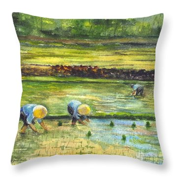 The Rice Paddy Field Throw Pillow