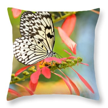 Rice Paper Butterfly In The Garden Throw Pillow