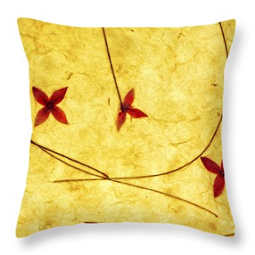 Rice Paper Wildflower Yellow Throw Pillow by Charline Xia