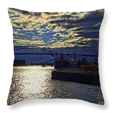 Richard I Bong Memorial Bridge Throw Pillow by Tommy Anderson