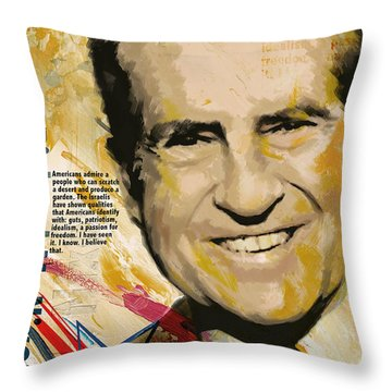 Richard Nixon Throw Pillow by Corporate Art Task Force