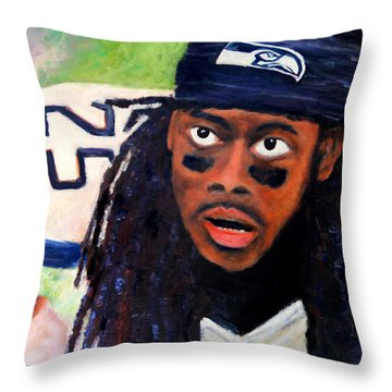Richard Sherman Throw Pillow by Marti Green