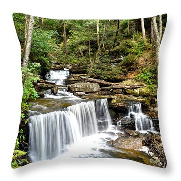 Ricketts Glen Delaware Falls Throw Pillow by Frozen in Time Fine Art Photography